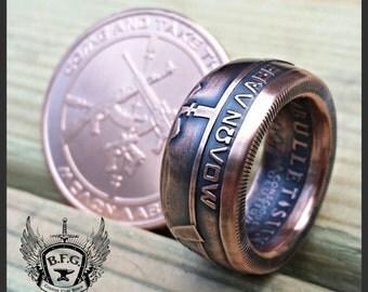 Molon Labe, come and take Them !! Handcrafted 1 oz Copper Ring