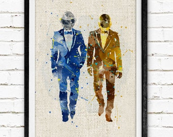 Daft Punk Watercolor Print, Music Home Art, Wall Decor, Not Framed, Buy 2 Get 1 Free!