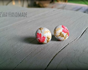 Pink & White Floral Fabric Button Earrings