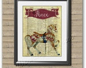 Printable wall art carousel PEACE virtues attributes print poster.  Digital download 13X10 inches.