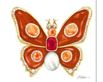 Butterfly Brooch Watercolor Rendering in Yellow Gold with Carnelian, Ruby, Diamonds, Hessonite Garnets and Pearl printed on Canvas