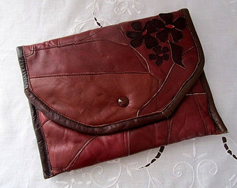 70s Vintage Leather Clutch Bag Handmade in Finland
