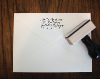 Custom Calligraphy, Hand Lettered Rubber Stamp