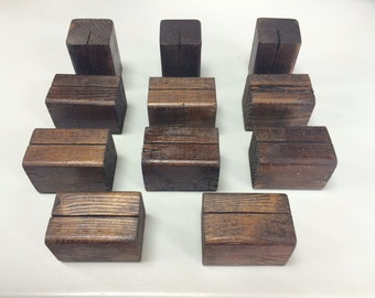 10 Wooden Table Number Holders or Sign Holders. Table Number Base. Or Sign Base.  These bases hold thin to thick card stock