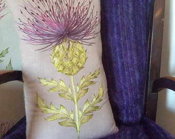 Handmade Embroidered Thistle Cushion Cover - Lilac / Purple