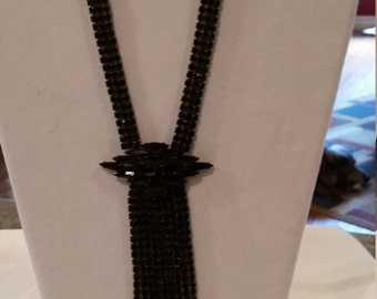 Black Rhinestone Necklace, Statement Piece