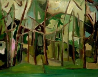 Abstract Wood's series oil in plastic technique or Green crazy forest modern forest green woodlands oil on canvas oil painting trees b032