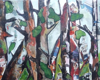Nature and Woods B086 collage tress with newspaper and acrylic on canvas abstract forest contemporary modern art newspaper collage wall art