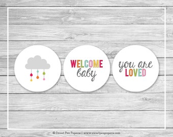 Rainbow Showers Baby Shower Cupcake Toppers - Printable Baby Shower Cupcake Toppers - Rainbow Baby Shower - Cupcake Toppers - SP100