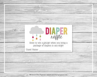Rainbow Showers Baby Shower Diaper Raffle Insert - Printable Baby Shower Diaper Raffle Cards - Rainbow Baby Shower - Diaper Raffle - SP100