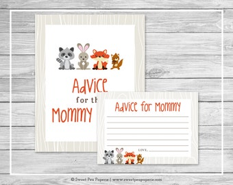 Woodland Animals Baby Shower Advice for Mom Cards - Printable Baby Shower Advice for Mom Cards - Woodland Animals Baby Shower - SP105