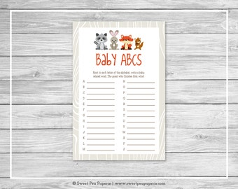 Woodland Animals Baby Shower Baby ABCs Game - Printable Baby Shower Baby ABCs Game - Woodland Animals Baby Shower - Baby ABCs Game - SP105
