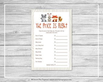 Woodland Animals Baby Shower Price Is Right Game - Printable Baby Shower Price Is Right Game - Woodland Animals Baby Shower - SP105