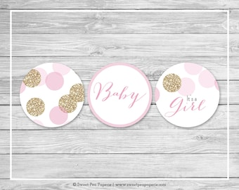 Pink and Gold Baby Shower Cupcake Toppers - Printable Baby Shower Cupcake Toppers - Pink and Glitter Baby Shower - Cupcake Toppers - SP106