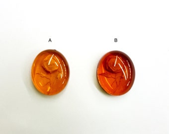 Genuine Baltic Amber Cabochons with Carved Rose, 12x10mm Oval, Vintage, Sold Per Piece