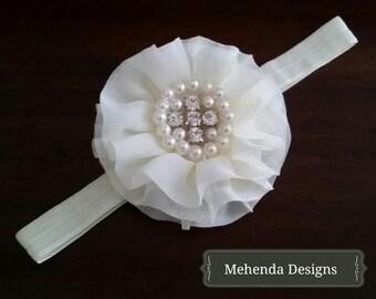 Newborn Baby girl toddler ivory flower headband. Pearl and rhinestone headband. christening headband. baptism headband