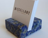 Square Business Card Holder - Blue Bahia Granite - Office Desk Home, Recycled Granite, Recycled Stone