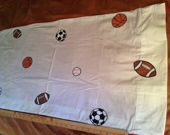SPORT BALL King Pillow Case, Handmade.  Soccer, Baseball, Football, Basketball