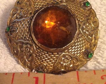 """large hatpin 1 3/4"""" gilded brass head with 3/4"""" topaz color stone on 11 1/2"""" pin vintage"""