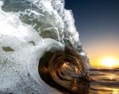 San Francisco Sunrise Barrel - 12x18 16x24 20x30 24x36 Metal Print - Surf Photography - Water Photography - Modern Art Wall Art