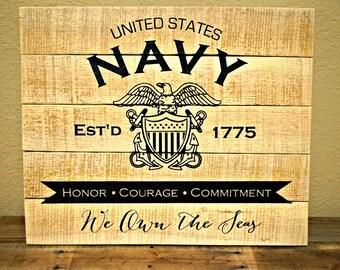 Navy Pallet Sign