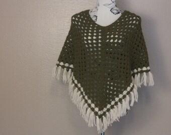 Moss Green Crochet Fringe Poncho