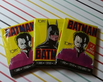 Vintage Lot of 3 1989 Topps Series 1 Batman Wax Packs - Old Store Stock