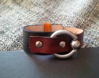 Leather bracelet, cuff bracelet ''Black/Burgundy''