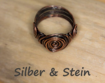 Dark Copper Ring With Spiral