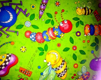 Quilting Treasures Cute as a Bug Collection. 100% Cotton Asst Bugs