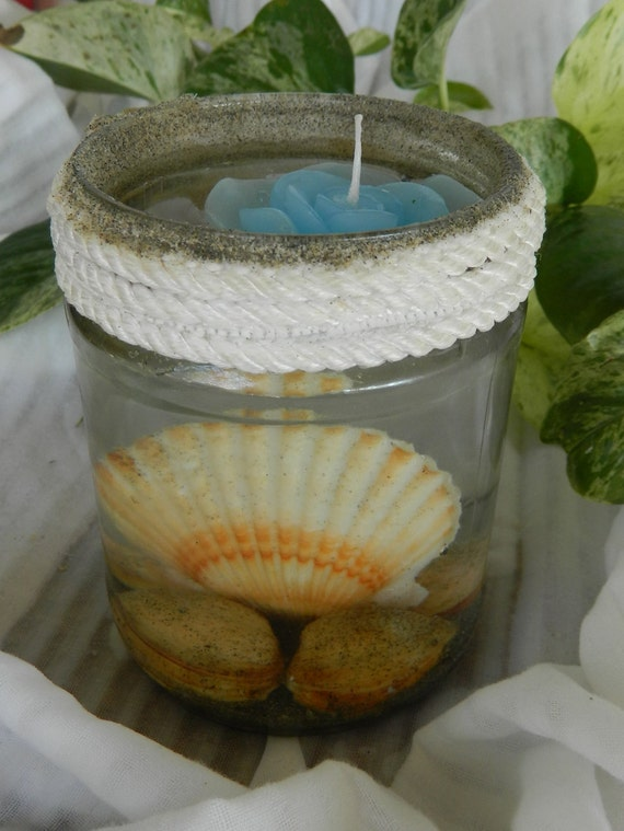 Items similar to Sea Shell Beach Glass Candle holder ...