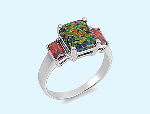 black opal garnet cz ring emerald cut by