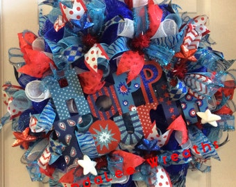 Fourth of July Wreath, Patriotic Wreath, Red White and Blue Wreath, Front Door Wreath, Patriotic Decor, Deco Mesh Wreath, LindaLee Wreaths