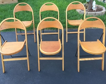 Set Of Six 6 Art Deco Stakmore NYC Wood And Metal Folding Chairs