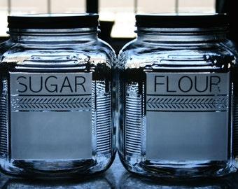 Etched Glass Flour & Sugar Jars