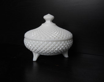 Vintage milk glass covered 3-footed dish