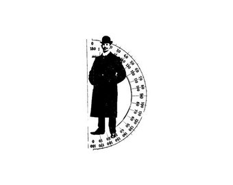 EZ Mounted Rubber Stamp Edwardian Victorian Man with Protractor Background Altered Art Craft Scrapbooking Cardmaking Collage Supply.