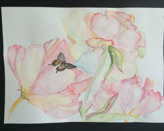 Original Watercolour Flowers 2 Wall Art