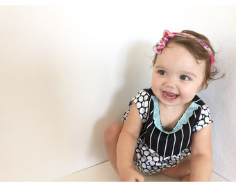SALE! Mint on Monochrome Stripes and Polka Dots Romper Bubble Sunsuit Baby/Toddler