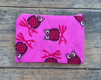 Pink and yellow owl zippered change purse / wallet
