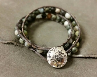 Beaded wrap bracelet with natural stones