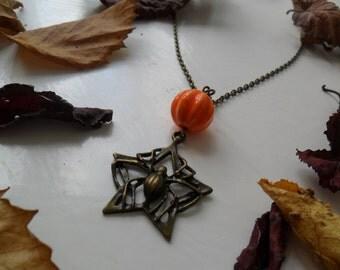 Halloween Star Spider Necklace ~ Antique Bronze & Ceramic Pumpkin ~ Detailed Antique Bronze Spider ~ Pagan Samhain Halloween Gothic