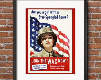 Women's Army Corps - World War II Recruiting Enlist Poster - Patriotic Poster - Vintage War Poster Army Military - 0580