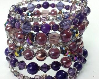 Purple Plum Bracelet, Wrap Around Beaded Bracelet, Memory Wire Wrap Bracelet, Purple Bracelet, Crystal Beaded Bracelet, Bling jewelry