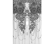 Light Switch Cover - Black and White Rose Dangle