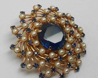Vintage Judy Lee Blue Rhinestone & Pearl Flower Brooch