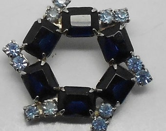 Vintage Cobalt and Sapphire Blue Rhinestone Hexagon Brooch