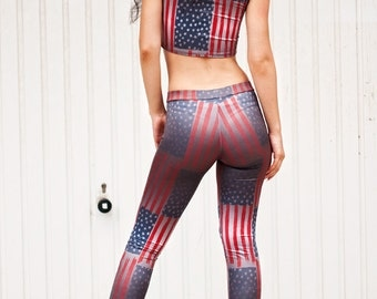 American flag leggings. US flag yoga pants. 4th of July Leggings. Independance day Pants. High waisted American leggings. Stars and Stripes