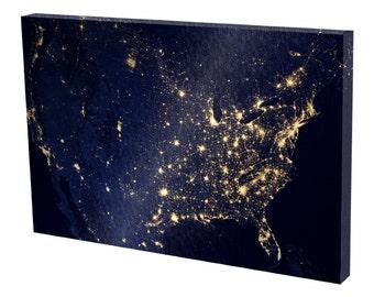 "Satellite Image of U.S. at night 24"" x 36"" Premium Gallery Wrapped Canvas Print"