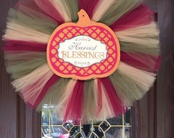 Harvest blessings fall tulle wreath